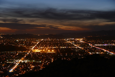 los angeles county: Southern California valley lights at dusk. Stock Photo