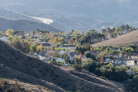 suburban neighborhood: Suburban Southern California hillside neighborhood. Stock Photo
