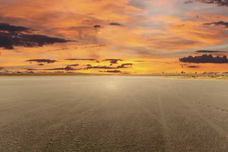 a mirage: El Mirage dry lake with sunset in Californias Mojave desert Stock Photo