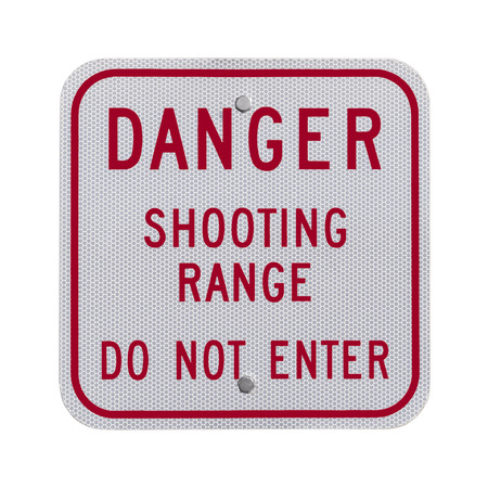 do not enter: Danger shooting range do not enter sign isolated on white. Stock Photo