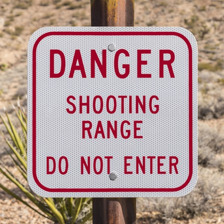 do not enter: Danger shooting range do not enter sign.