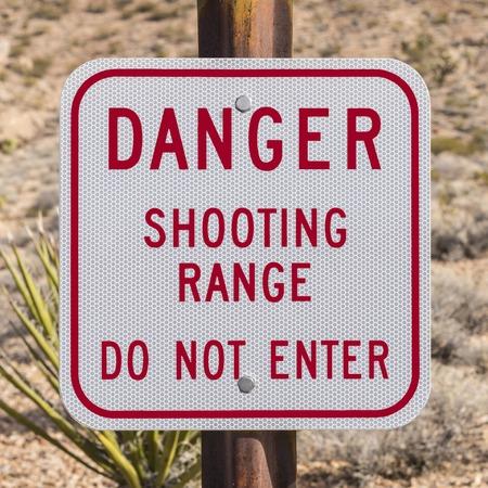 do not enter: Danger shooting range do not enter sign.