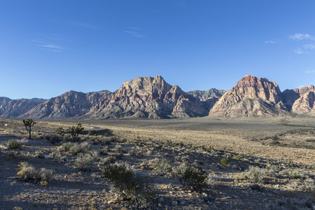 red rock national conservation area: Famous cliffs of Red Rock National Conservation area only 20 miles from the Las Vegas strip in Nevadas Mojave desert. Stock Photo