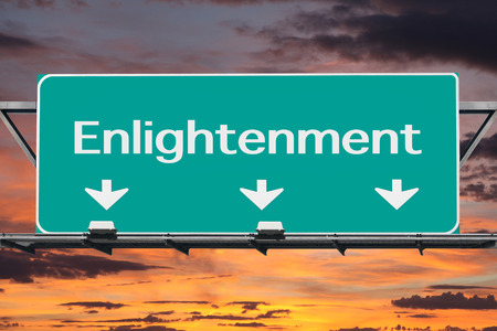 enlightenment: Freeway to enlightenment road sign with sunrise clouds. Stock Photo