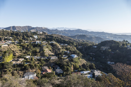 hollywood hills: Los Angeles, California, USA - January, 1, 2015:  New years morning below the Hollywood Sign in the Hollywood Hills area of Los Angeles.