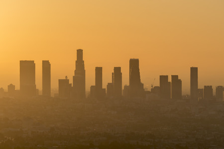 Downtown Los Angeles early morning orange smog sky.