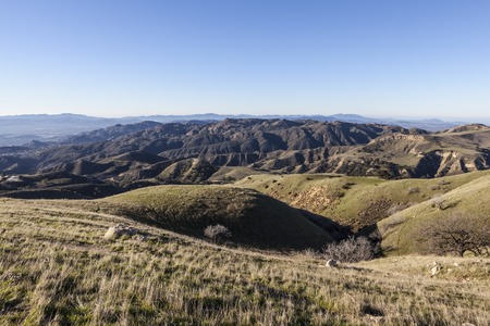 northridge: View towards Rocky Peak and Santa Susana Pass State Historic Park from Michael Antonivich Regional Park above the San Fernando Valley in Los Angeles, California.