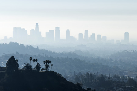 Downtown Los Angeles with misty morning smoggy fog. 版權商用圖片 - 35069074