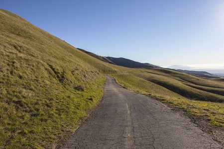 northridge: Winding mountain road at Michael D. Antonovich Regional Park above the San Fernando Valley area of Los Angeles, California.