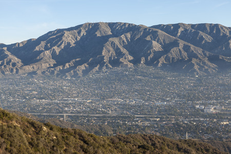 valley below: Morning valley haze at La Crescenta and Montrose below Mt. Lukins near Los Angeles in Southern California. Stock Photo