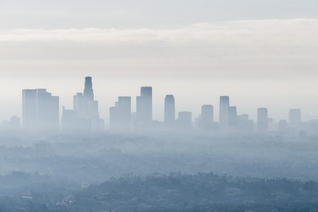 Foggy city view of downtown Los Angeles, California. Stock Photo