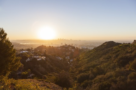hollywood hills: Sunrise view from the Hollywood Hills near downtown Los Angeles, California.
