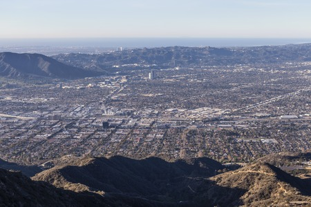burbank: Mountaintop view towards Burbank, Studio City and the Santa Monica Mountains in Los Angeles, California.