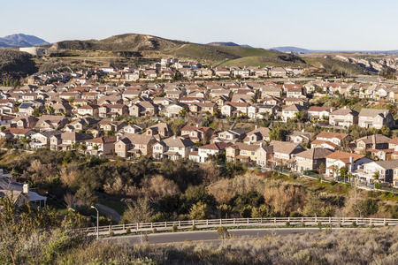 upscale: Early morning light on rows of upscale suburban homes in Simi Valley near Los Angeles, California.
