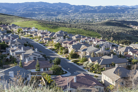 Early morning view of hillside California suburban housing in Simi Valley near Los Angeles.