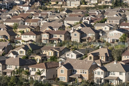 Dense large suburban hillside homes in Simi Valley near Los Angeles, California.