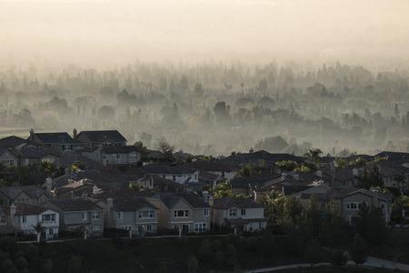 northridge: Foggy suburban sunrise in the San Fernando Valley area of Los Angeles, California.