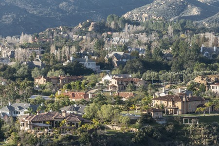 Hillside mansions overlooking the San Fernando Valley area of Los Angeles. Stock Photo