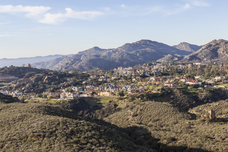 Suburban mountaintop mansions above the San Fernando Valley in Los Angeles, Calfornia. photo