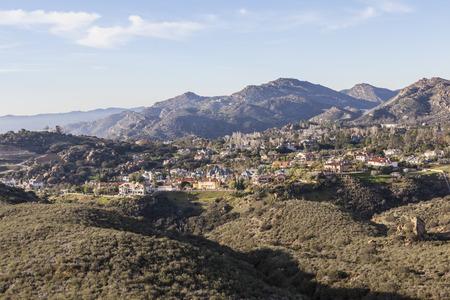 porter house: Suburban mountaintop mansions above the San Fernando Valley in Los Angeles, Calfornia. Stock Photo