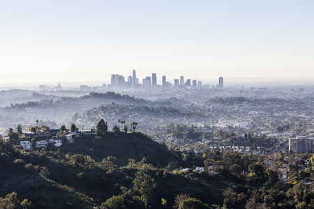 Misty early morning in downtown Los Angeles.