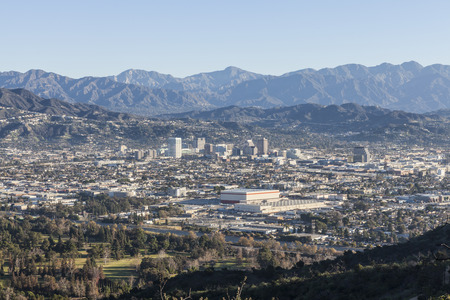 Mountaintop view of Glendale and Los Angeles, California.