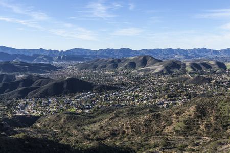 ca: Mountain top view of the upscale Los Angeles suburb of Thousand Oaks in eastern Ventura County.