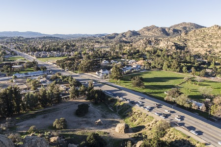 stoney point: Dawn light view of Topanga Canyon Boulevard in the San Fernando Valley area of Los Angeles, California.