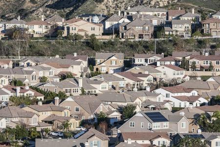 sprawl: Rows of contemporary Southern California suburban hillside homes. Stock Photo