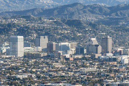 ca: Downtown Glendale next to Los Angeles in southern California.