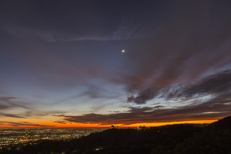 griffith: Los Angeles and Hollywood sunset viewed from popular Griffith Park in Southern California.
