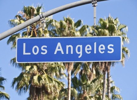 Los Angeles street sign in Southern California. 스톡 콘텐츠