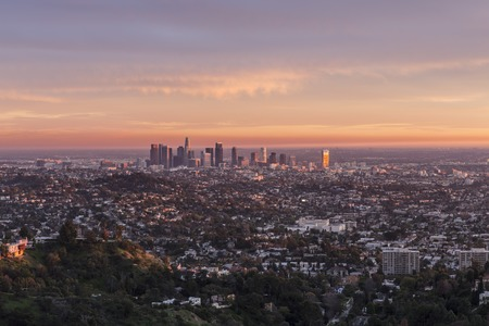 Last rays of afternoon light illuminating downtown Los Angeles, California.