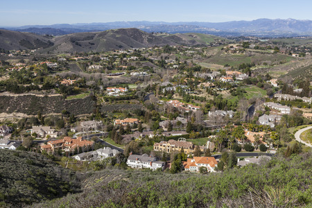 ca: Contemporary valley of mansions in Thousand Oaks near Los Angeles, California. Stock Photo