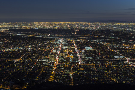 ca: Glendale and downtown Los Angeles aerial night view.
