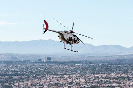 Las Vegas Nevada, USA - February, 6, 2015:  Las Vegas metropolitan police helicopter on patrol in southern Nevada.