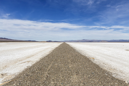 salt flat: Old closed road crossing vast salt flat dry lake in Californias Mojave National Preserve.