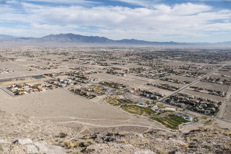 rural community: Sprawling desert development north of Las Vegas, Nevada. Stock Photo