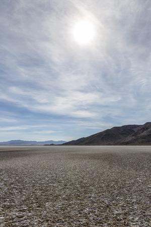 Dry desert lake bed in Californias Mojave desert.