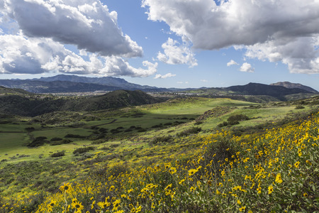 wildwood: View towards Newbury Park from Wildwood Park in the Los Angeles suburb of Thousand Oaks, California. Stock Photo