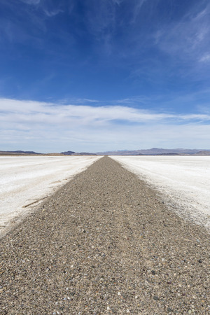 salt flat: Mojave desert dry lake salt flat road near Death Valley, California. Stock Photo