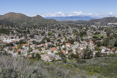 Hilltop view of the Los Angeles area suburb of Newbury Park in Southern California. Stock Photo
