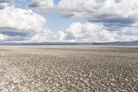 Salty dry lake salt flats in Californias drought stricken Mojave desert.