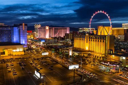Las Vegas, Nevada, USA - March 22, 2015:  Twilight at Las Vegas strip resorts and High Roller Ferris Wheel.