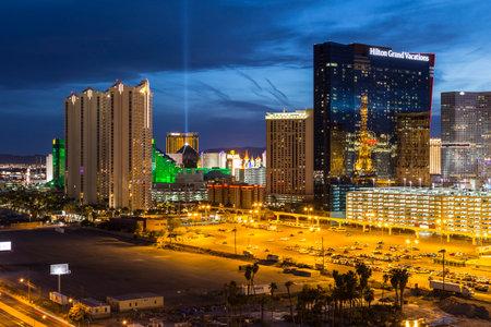 nevada: Las Vegas, Nevada, USA - March 22, 2015:  Las Vegas strip casino resort towers at night.