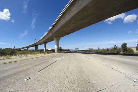 Empty freeway in Los Angeless San Fernando Valley. photo