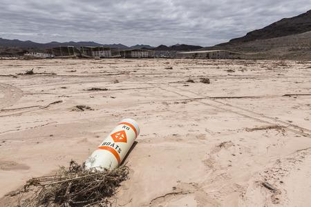 No boats buoy at drought damaged marina in Lake Mead national Recreation Area.