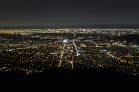 aerial view city: Night aerial of Glendale and downtown Los Angeles in Southern California. Stock Photo