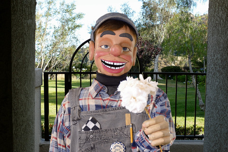Blind Date: Friendly vintage puppet teen with flowers for his date.
