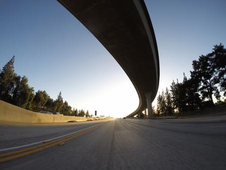 san fernando valley: California freeway interchange ramp sunset. Stock Photo